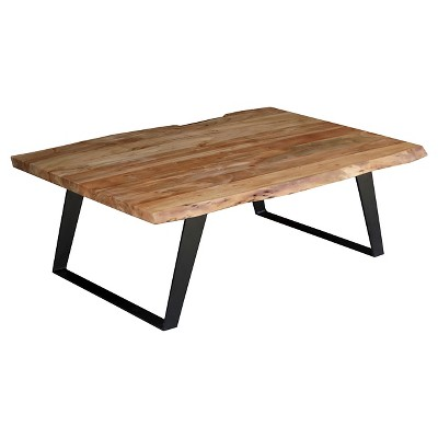 solid wood Live Edge Coffee Table - (16H x 45W x 31D) - Natural - Timbergirl