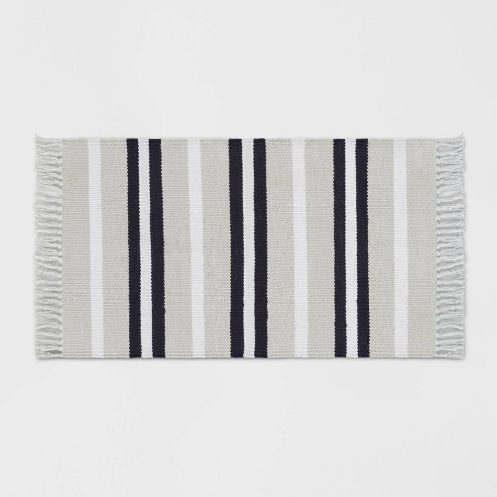 Stripe Woven Accent Rug Gray