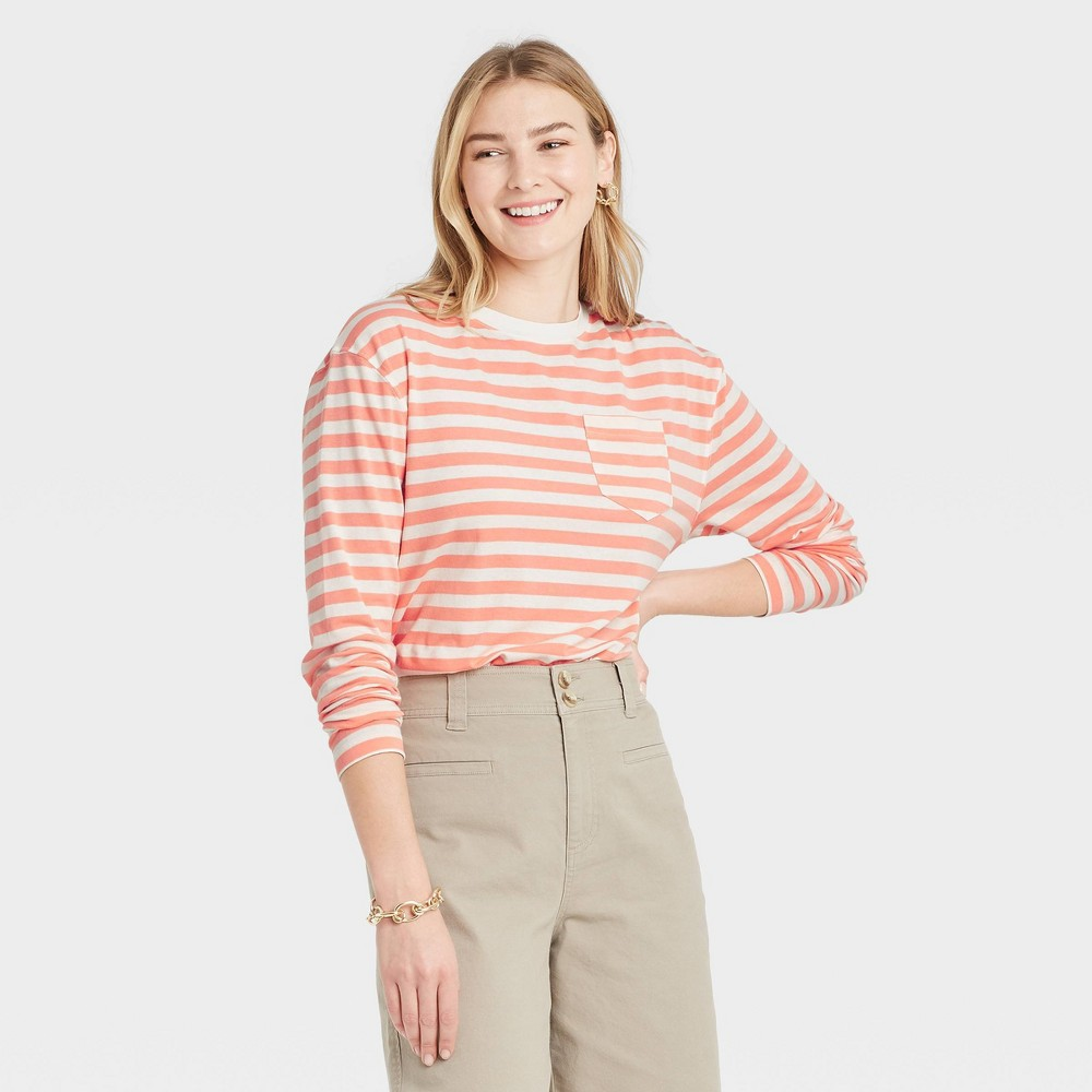 Women 39 S Striped Slim Fit Long Sleeve Round Neck Pocket T Shirt A New Day 8482 Peach S