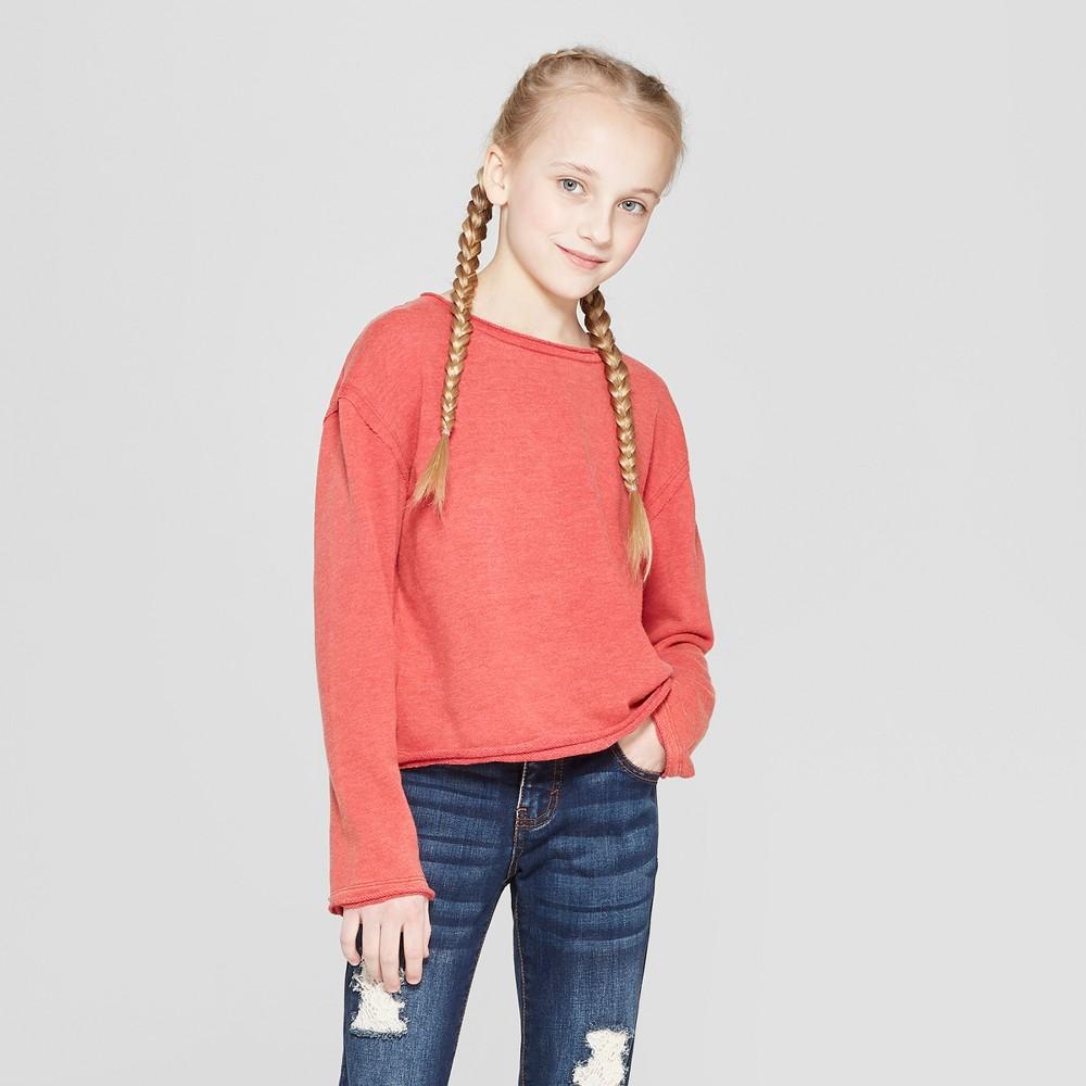 Girls' Raw Edge Pullover - art class Brick Red M
