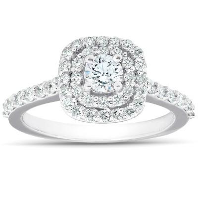 Pompeii3 3/4Ct Diamond Cushion Double Halo Engagement Ring 14k White Gold