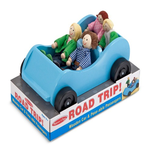 Melissa & Doug® Road Trip Wooden Toy Car and 4 Poseable Dolls (4-5 inches each) - image 1 of 4