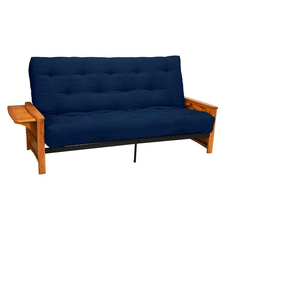 Brooklyn 8 Cotton/Foam Futon Sofa Sleeper - Oak Wood Finish - Epic Furnishings, Blue