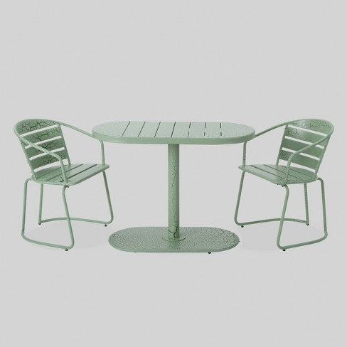 Fabulous Santa Monica 3Pc Iron Patio Bistro Set Crackle Green Christopher Knight Home Interior Design Ideas Tzicisoteloinfo