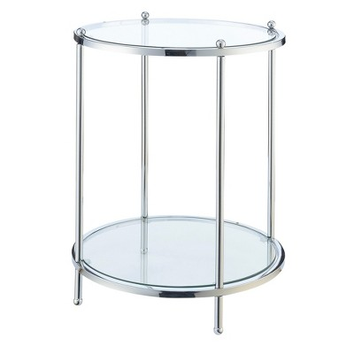 Royal Crest 2 Tier Round End Table - Chrome / Glass - Johar Furniture