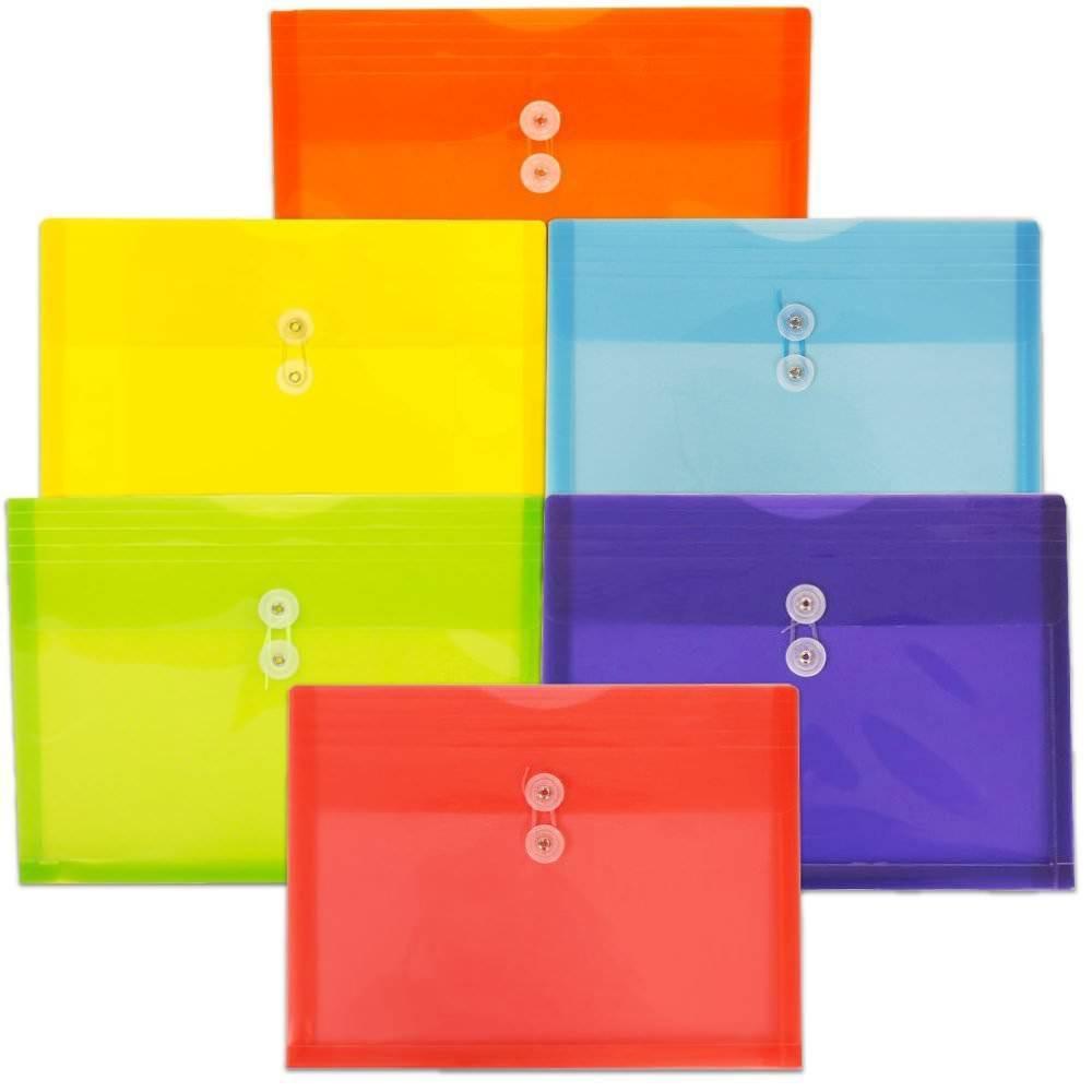 Jam Paper 9 3 4 X 13 6pk Plastic Envelopes With Button String Tie Closure Letter Booklet Multicolor