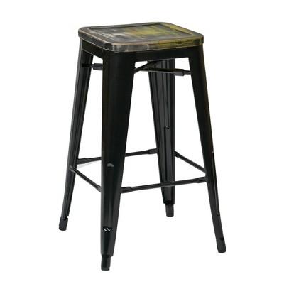 "Set of 4 26"" Bristow Metal Barstool Vintage Wood Ash - OSP Home Furnishings"