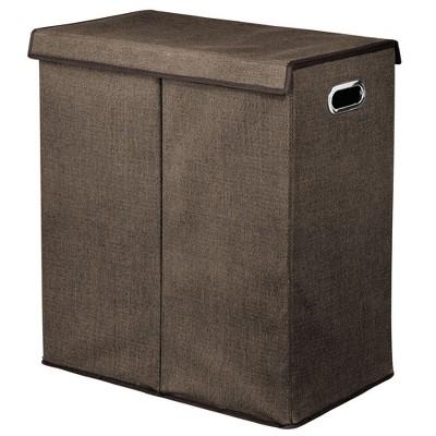 mDesign Divided Laundry Hamper Basket with Lid, Chrome Handles