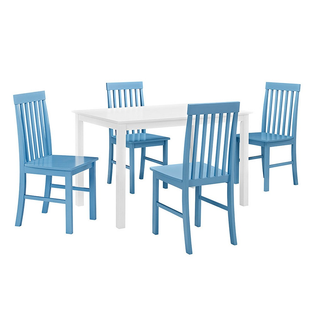 5pc White Wood Kitchen Dining Set - Powder Blue - Saracina Home, Misty Blue