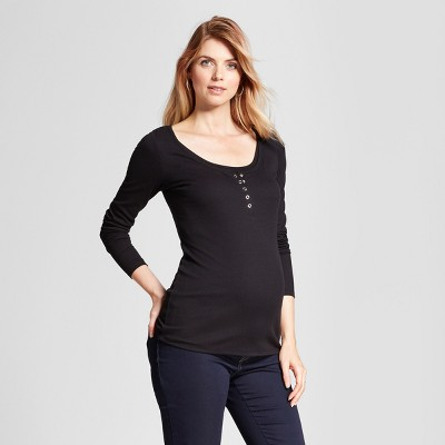 Maternity Long Sleeve Nursing Henley - Isabel Maternity™ by Ingrid & Isabel® Black XS