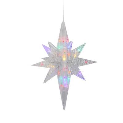 "Brite Star 20"" Pre-Lit Clear 3D LED and Morphing Bethlehem Star Christmas Decor - Multicolor Lights"