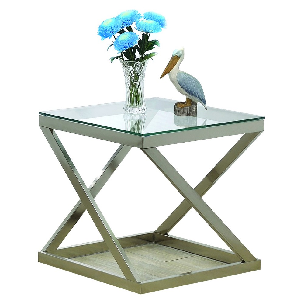 End Table Brushed Nickel Acme Furniture