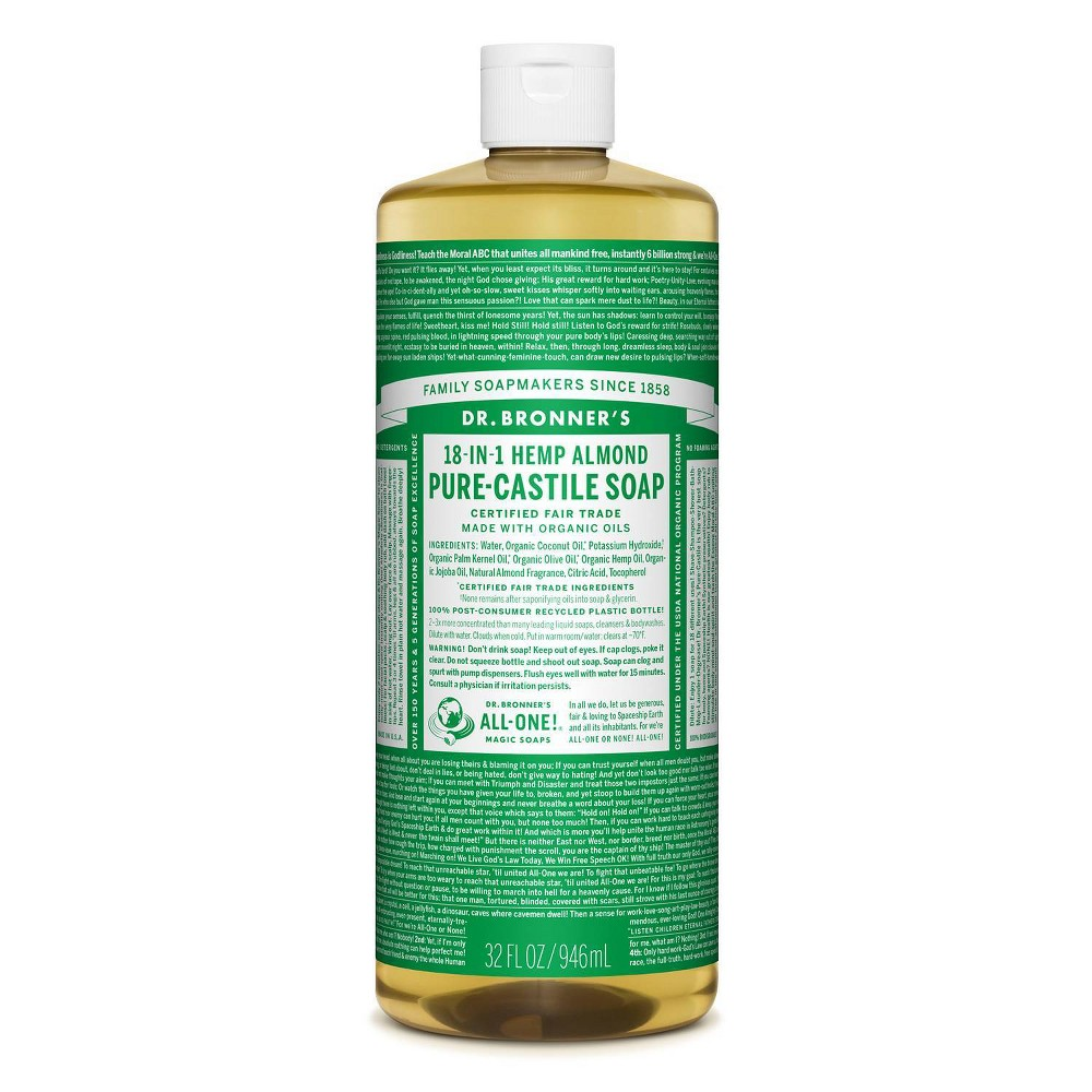 Image of Dr. Bronner's 18-In-1 Hemp Pure-Castile Soap - Almond - 32 fl oz