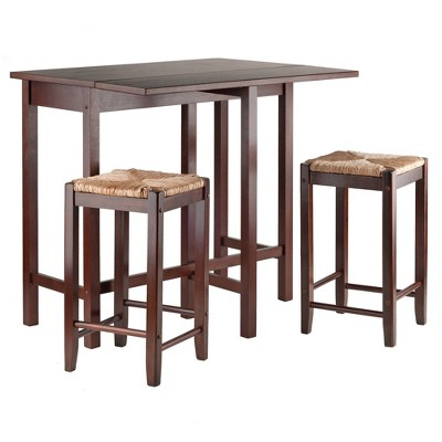 3pc Lynwood Drop Leaf Dining Table Set with Rush Seat Stool Walnut - Winsome