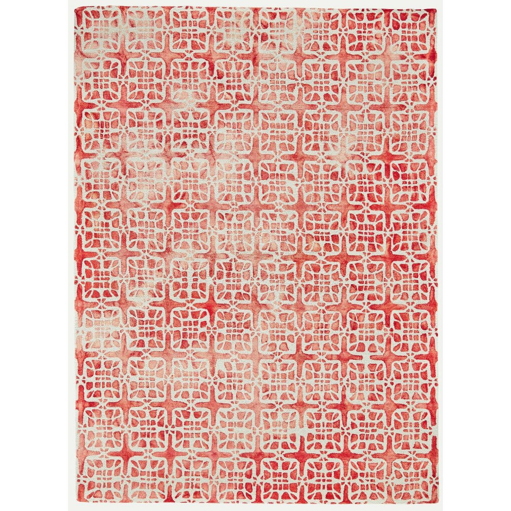 5'X8' Geometric Hooked Area Rugs Pomegranate - Room Envy, Pink