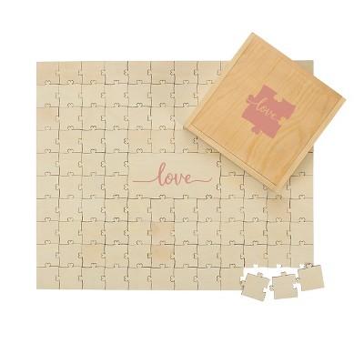 """Love"" Wedding Guestbook Puzzle Tan"