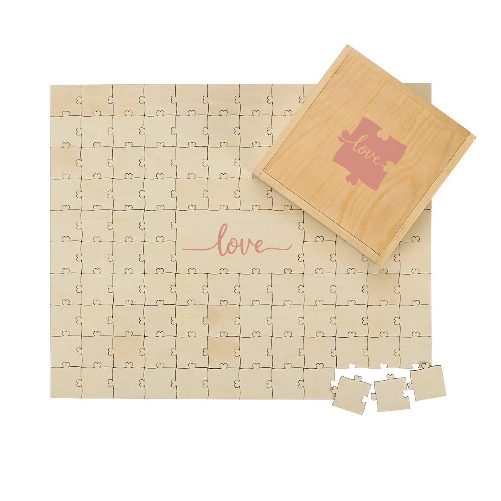 Cathy's Concepts Tan Love Wedding Guestbook Puzzle, Wood