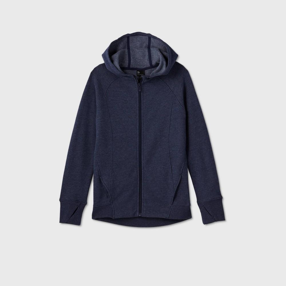 Girls 39 Fleece Full Zip Hoodie Sweatshirt All In Motion 8482 Navy Xs