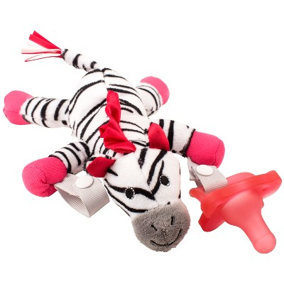 Dr. Brown's Zebra Lovey with Pink One-Piece Pacifier - Black/White