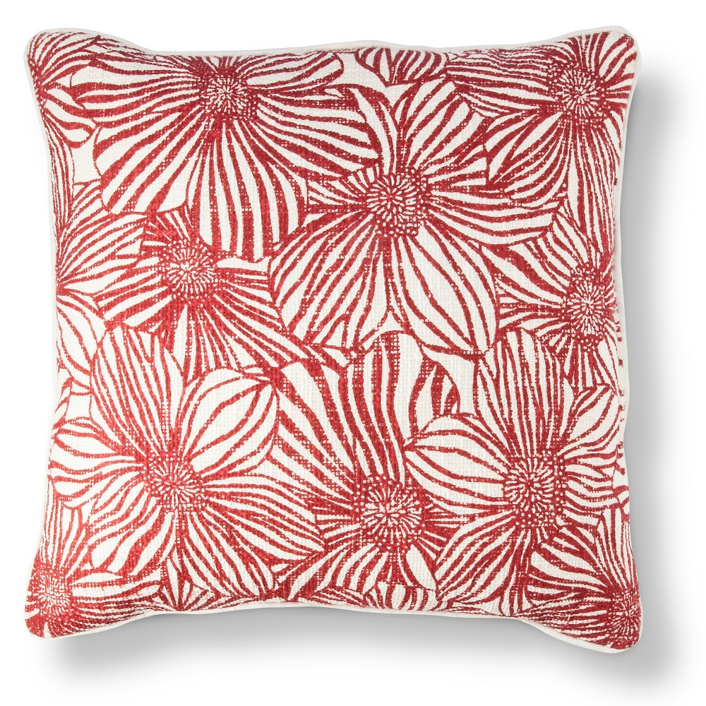 Red Square Textile Floral Throw Pillow (18