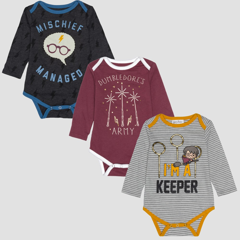 Baby Boys' Harry Potter 3pk Long Sleeve Bodysuits - Gray/Red 0-3M, Multicolored