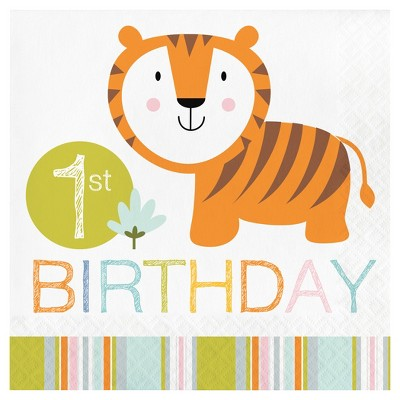 16ct Happy Jungle 1st Birthday Napkins