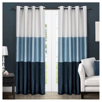 "Set of 2 84""x54"" Chateau Striped Faux Silk Grommet Top Window Curtain Panel Indigo - Exclusive Home"