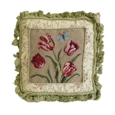 """C&F Home 16"""" x 16"""" Butterfly And Tulips Needlepoint Pillow"""