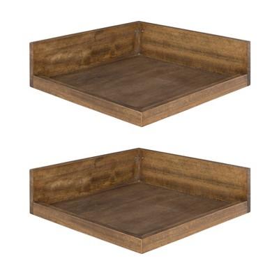 "4.5"" x 2.2"" 2pk Levie Floating Corner Wooden Wall Shelf Set Brown - Kate & Laurel All Things Decor"