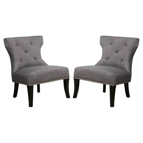 Terrific Amber Studded Fabric Accent Chair Gray Set Of 2 Christopher Knight Home Andrewgaddart Wooden Chair Designs For Living Room Andrewgaddartcom