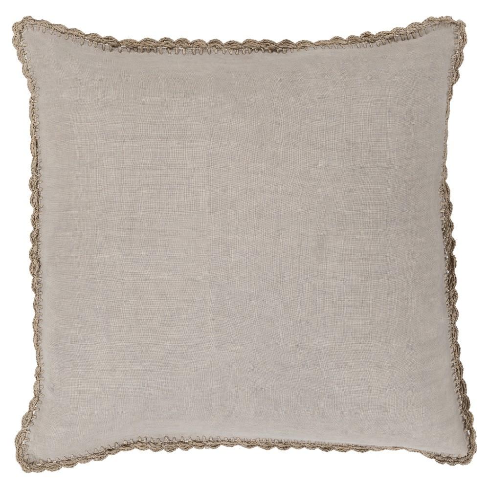 Gray Velletri Crotchet Throw Pillow 18