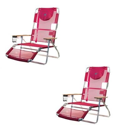 Ostrich 3-N-1 Lightweight Comfortable Aluminum Multi-Position Relaxing Reclining Beach Chair, Pink (2 Pack)