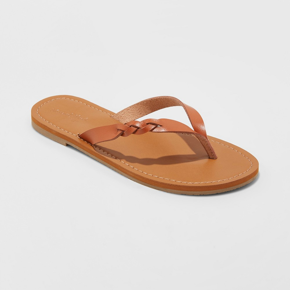 Women's Bobbie Braided Thong Flip Flop Sandals - Universal Thread Cognac (Red) 11