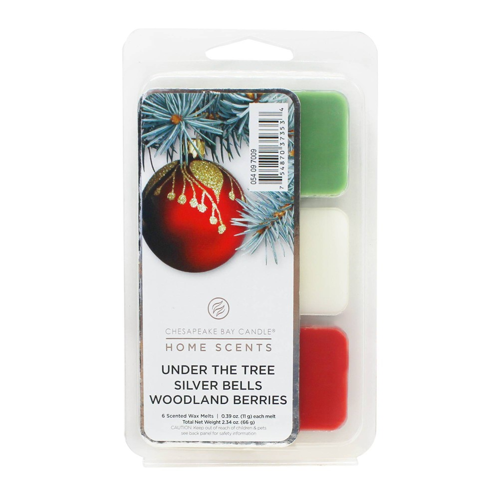 Image of 6pk Wax Melts Under the Tree/Silver Bells/Woodland Berries - Home Scents by Chesapeake Bay Candle, White Red Green