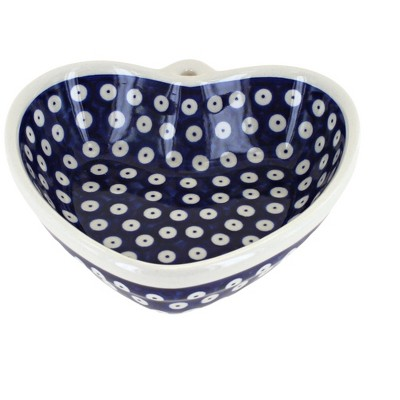 Blue Rose Polish Pottery Dots Heart Bowl