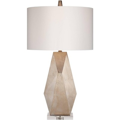 Possini Euro Design Modern Table Lamp Gold Geometric Off White Drum Shade for Living Room Family Bedroom Bedside Nightstand Office