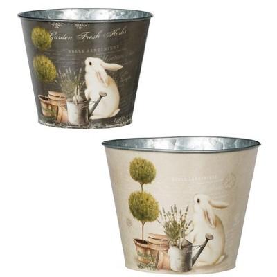 "Sullivans Set of 2 Rabbits Plants Planter 5.75""H & 5""H Tan"