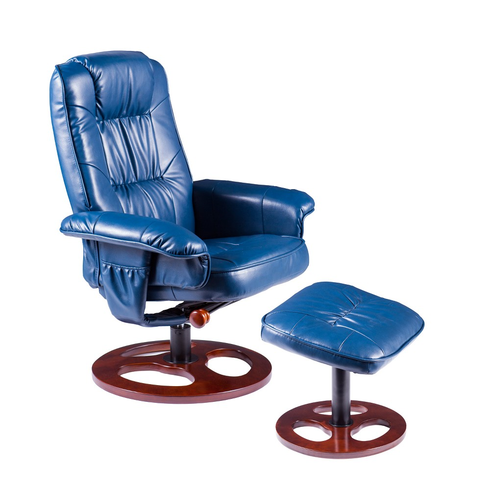 Locke Faux Leather Swivel Recliner with Ottoman Bright Navy - Aiden Lane