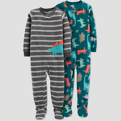 Baby Boys' Fleece Stripe Dino Pajama Set - Just One You® made by carter's Green 9M
