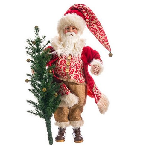 "Allstate Floral 21"" Peppermint Red Burlap Santa Claus with Tree Table Top Christmas Decoration"