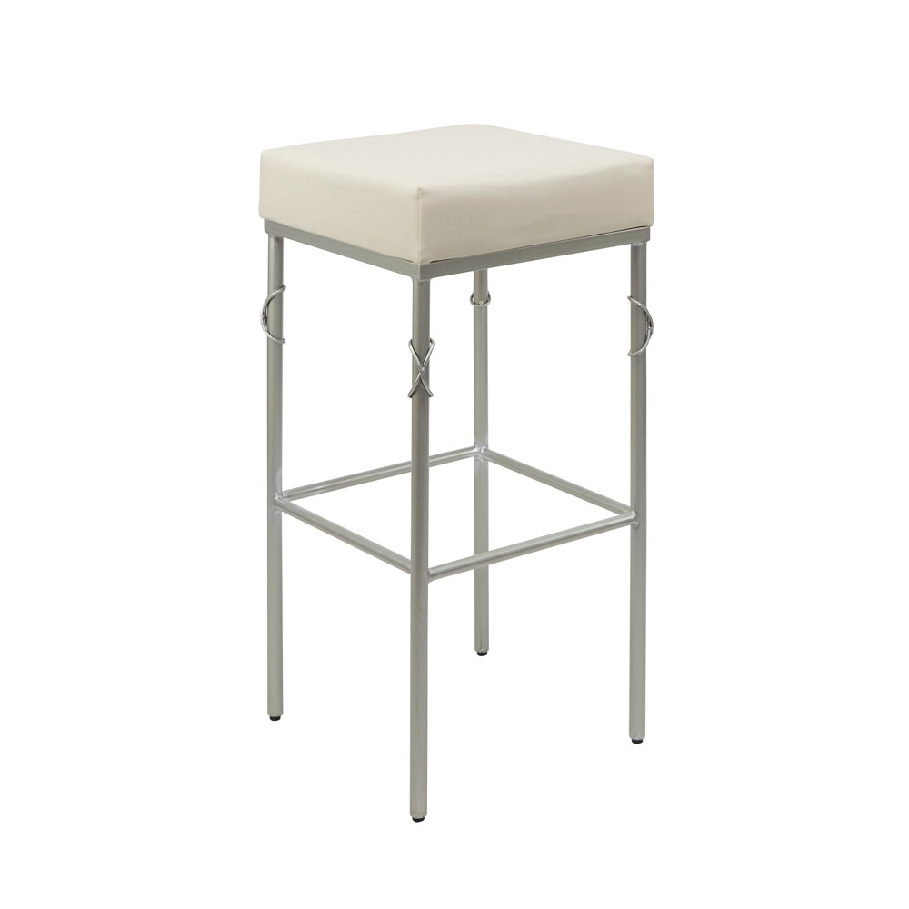 "Image of ""29"""" Gweneth Square Backless Barstool with Metal Accent In Rose Gold - Silverwood"""