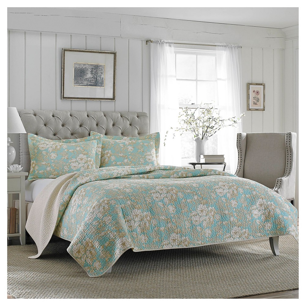 Image of Brompton Quilt And Sham Set Full/Queen Serene - Laura Ashley