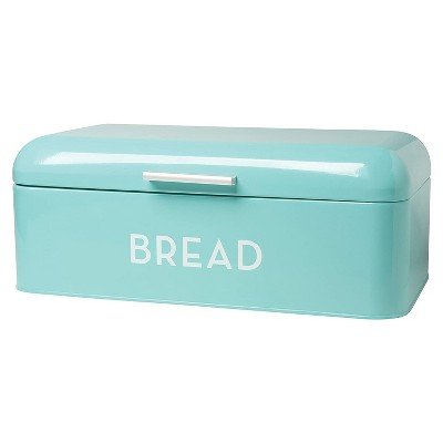 Now Designs 9 x 6.5 x 16 Inch Large Metal Bread Loaf Keeper Storage Container Bin w/ Hinged Lid for Home Kitchen Countertop, Turquoise Blue