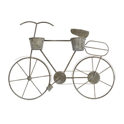 Large Vintage Rectangular Wall Bicycle Planter with Metal Base Gray - Olivia & May