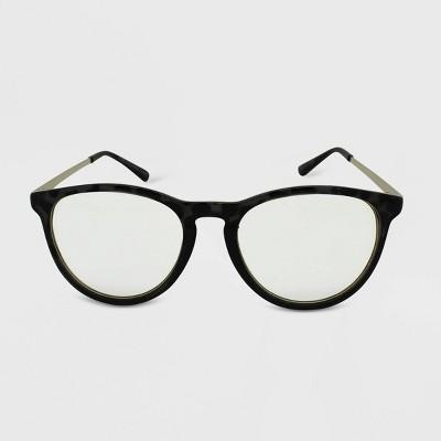 Women's Matte Tortoise Print Round Blue Light Filtering Glasses - Wild Fable™ Gray