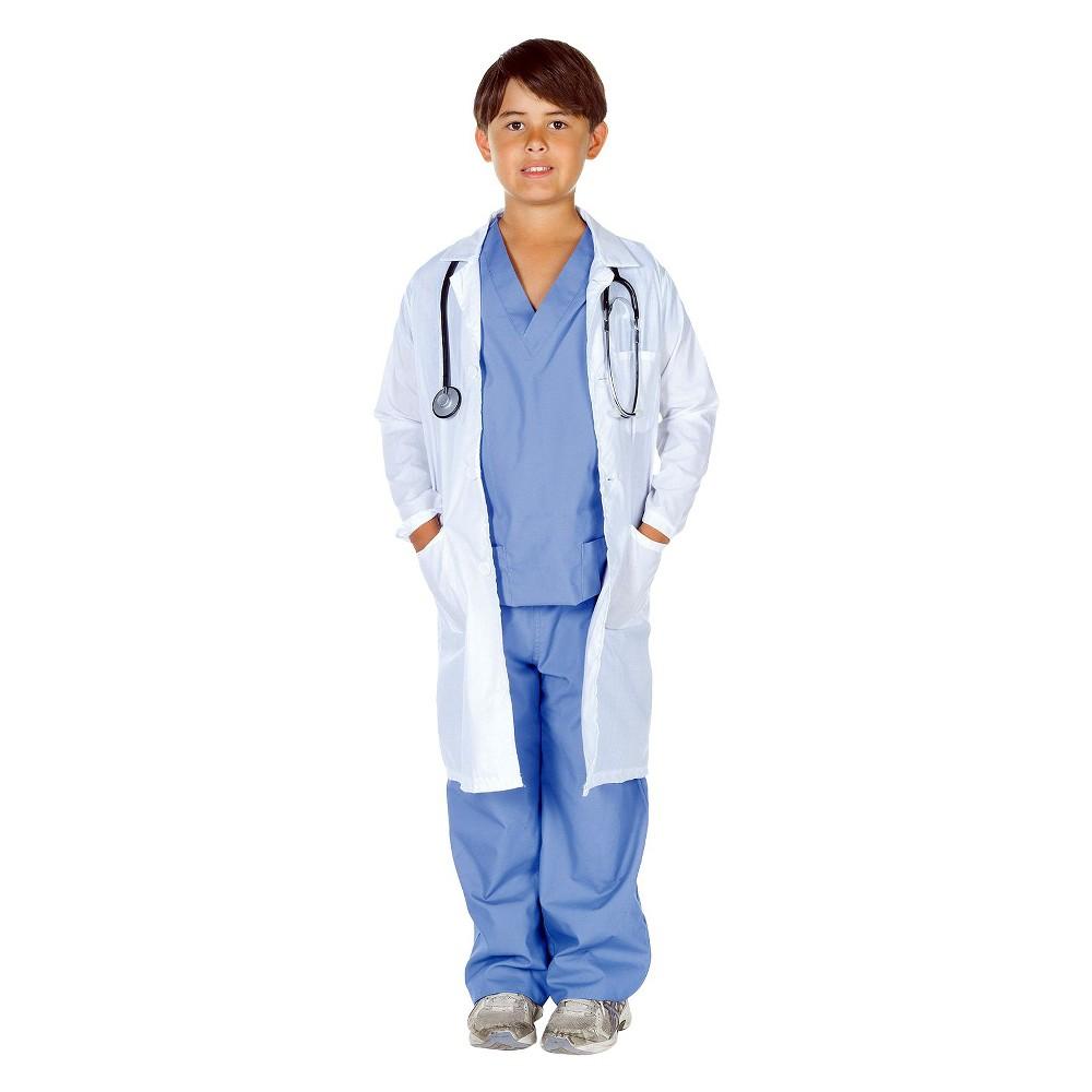 Kid's Doctor Scrubs with Lab Coat Costume Medium (7-8), Boy's, Size: M(8-10), Blue