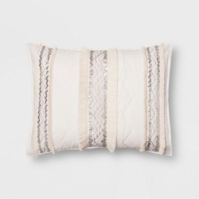 White Moroccan Wedding Blanket Sham (Standard)- Opalhouse™