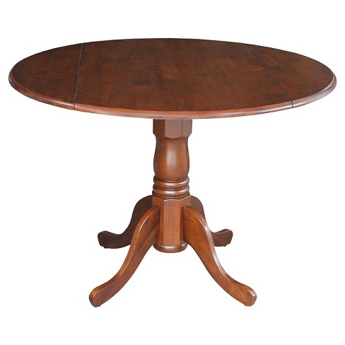 Tremendous Round Drop Leaf Pedestal Dining Table Wood Espresso International Concepts Interior Design Ideas Philsoteloinfo