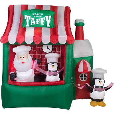 Gemmy Animated Christmas Airblown Inflatable North Pole Taffy Stand, 7 ft Tall, Multicolored