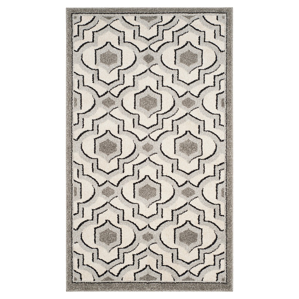 Ivory Gray Geometric Loomed Accent Rug 3 39 X5 39 Safavieh
